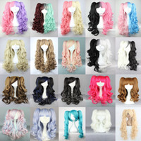 Wholesale New Lolita With Two Ponytails color mixed Hot Dual Color Performanc Cosplay Wigs