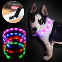 al por mayor grande al por mayor de peluche-Venta al por mayor collar de perro Led luces USB ajustable luminoso llevado collar de perro USB carga de mascotas suministros perro Teddy llevó collares ligeros para perros grandes