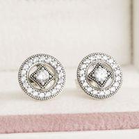 Cubic Zirconia allure diamonds - 2016 Autumn Vintage Allure Stud Earrings Sterling Silver Jewelry AAA CZ Diamond Earrings For Women Diy Jewelry Accessories