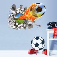 bedroom football wallpaper - 2016 New D Football on Fire Wall stickers for Kids room Home decor DIY PVC Wallpaper Art Decals Decorative Stickers on Wall x70cm pc