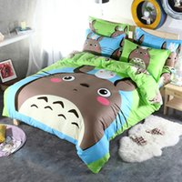 Wholesale Brand Grey totoro cartoon kids bedding set cotton duvet cover set bed sheet linen quilt bedclothes pillowcase set