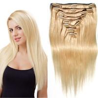 multi color hair extension - 8A Grade Human Virgin Hair Clip In Hair Real Brazilian Remy Multi Color Clip Ins Hair Extensions Silky Straight For Hot Sale