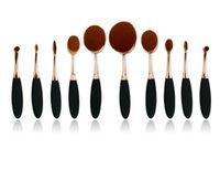Wholesale 2016 HOT Ana Oval Makeup Brush Cosmetic Foundation BB Cream Powder Blush pieces set Makeup Tools Toothbrush Shape DHL Free