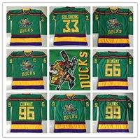 Ice Hockey bank logos - 1996 Anaheim Mighty Ducks Movie Jersey Greg Goldberg Gordon Bombay Charlie Conway Adam Banks Hockey Jersey Stitched Logos