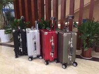 Wholesale Vintage aluminum trolley case luggage case boarding code case with universal wheel inch for men women
