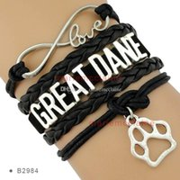 big cougar - Pieces Infinity Love Cougars German Shepherd Beagles Grizzlies Big Red Great Dane Dog Paw Charm Bracelets Any Themes