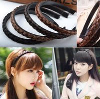Wholesale New Women Vintage Wig Headband Braids Hair Band Girls Korea Style Headband Lady Hair Accessories