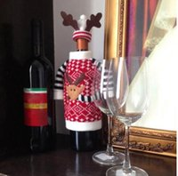bags colored glass - Fashion Cloth Red Wine Bottle Cover Bags Deer Sweater Gift Christmas Decoration Supplies Home Party Santa Claus Christmas