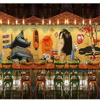 barbecue smoking wood - D Stereo Custom Japanese Cartoon Character Wallpaper Japanese Style Restaurant Retro Building Hot Pot Barbecue Mural