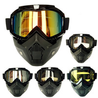 Wholesale New Ski Motorcycle Glasses Glasses For Detachable Motocross Helmet Windproof Glasses off Road Helmets Vintage Mask Goggles
