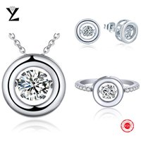 Wholesale Hot Sale Sterling Silver Crystal Set with Ring Necklace and Earrings Cubic Zirconia Jewelry Set for Women White Gold Plated Jewelry