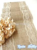 Wholesale cm Burlap table runner wedding table Cloth with country cream lace rustic chic handmade for wedding table decoration