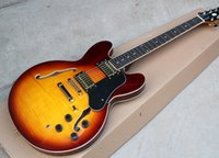 Wholesale Dark Brown Semi hollow Electric Guitar with Gold Hardware Black Binding Offer Customized