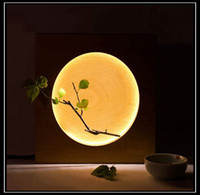 Wholesale Wood Full Moon Handmade Wooden Wall Lamp Creative Decoration LED Wall Light Bedroom lamp table light night lamp Desk Lamp For Home Decor