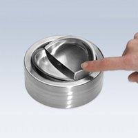 Wholesale Portable Practical Home Metal Ashtray Spinning Black Rotation Plain Cigarette Ash Tray Push Down Smoking