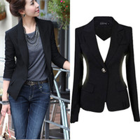 Precio de Solo botón abrigos negros-Nueva S-3XL de la chaqueta de la chaqueta de la chaqueta de las mujeres de la manera Chaqueta negra ocasional de la capa Chaqueta del botón Mujer Blaser Mujer Femenino