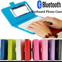 Funda de teléfono con Bluetooth Mini teclado inalámbrico para Iphone universal 6 Tablet Android cubierta de teléfono móvil Teclado Funda de cuero