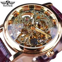 achat en gros de gagnant horloge-Winner Hommes montre Royal Carving Skeleton Bracelet Cuir Marron Transparent Thin Case Skeleton Design Montres Montres Hommes Marque de luxe de la marque
