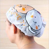 Wholesale DHL Shinping Kawaii Lovely Cartoon Shower Cap Thickening Adult Ma am Wash Hair Hat Waterproof Shower Hats Bath Hats Protect