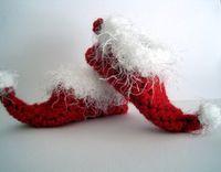 achat en gros de fils père-Noël bébé crochet santa chaussures Elf pantoufles nouveau-né Photo Prop0-12M fil de coton de taille 15pairs / lot