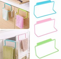 Wholesale Candy Colors Over Door Tea Towel Holder Rack Rail Cupboard Hanger Bar Hook Bathroom Kitchen Top Home Organization Storage Holders Racks
