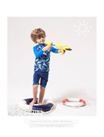Pure Colour big boys boxers - Children s swimwear export new long sleeved split in boxer big boy boys swimming suit kids clothing