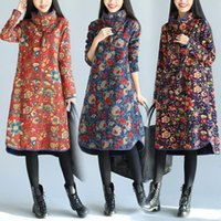 add a size - Winter dresses for Womens Red and blue colors M XXL Floral print Loose Plus size Add plush Thickened Medium style Casual dress