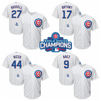 Wholesale Cubs Baseball Jerseys Rizzo Baez Bryant World Series Champion Patches Baseball Jerseys Blue Stripe Stitch Baseball Wear