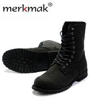 achat en gros de chaussures de combat rétro chaud-Livraison gratuite! Bottes de combat rétro Bottes d'hiver de style hommes d'hiver à la mode de haute-top noir Chaussures de bottes chaudes à la mode des hommes LS034
