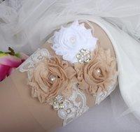 acheter perle ensembles de jarretire de mariage champagne fleur dentelle mariage jarretire vintage rhinestone perle - Achat Jarretire Mariage