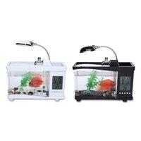 Wholesale Mini USB LCD Desktop Lamp Light Fish Tank Aquarium LED Clock LCD Desktop Timer White Black Valentine Christmas days gift