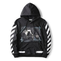 angels ink - Quality Goods OFF WHITE Embroidery Stripe Hoodies Loves Religious Splash ink Angel Striped Hoodie Hooded Men Women Baseball Fleece Jackets