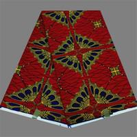batik dress material - Hot selling red ankara wax material batik African real print wax fabric for dress RWF57 yards pc