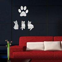Hogar feliz Hogar del dormitorio de la sala Decorar lujo creativo 3D Decoración del hogar de los gatos de la etiqueta engomada Pegatinas de la pared en moderno