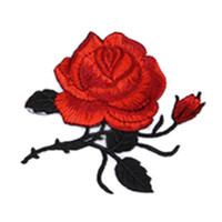 Wholesale 1 Rose Flower Leaves Embroidery Iron On Applique Patch Sew On Patch Craft Sewing Repair Embroidered