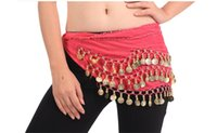 Wholesale 12 Colors Rows Coins Belly Egypt Dance Hip Skirt Scarf Wrap Belt Costume free DHL