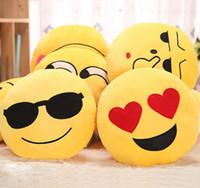 Wholesale Hot sale Styles Soft Emoji Smiley Emoticon Round Cushion Pillow Sofa Stuffed Plush Toy Doll Christmas whatsapp emoji Cushion