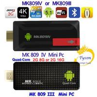 La caja más nueva 4K del androide de la PC de la CPU 2G 8G 2G 16G de la mejora de 4K MK809IV o de MK809III del androide del palillo del Dongle de la TV del androide RK3229 de la CPU 4K