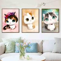 Wholesale 5D DIY diamond mosaic diamond embroidery bedroom cartoon animals cute cat point diamond paste diamond painting cross stitch