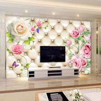 Grand mur vidéo murale murale sans soudure TV réglable papier muraux Europe type 3 d paquet doux papier peint roses