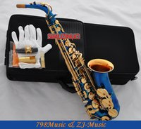 Vente en gros Blue Lacquer Gold and Gold Bell Eb Alto Saxophone High F # Key-Pearl Bottons