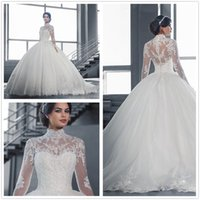 Wholesale 2017 New Vintage Long Sleeves Lace Ball Gown Wedding Dresses High Neck Tulle Applique Court Train Wedding Bridal Gowns With Buttons