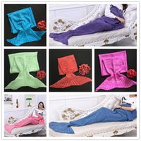 Cheap Brand yarn knitted Mermaid Tail blanket handmade crochet mermaid blanket adult throw bed Wrap super soft sleeping bag 90x180cm