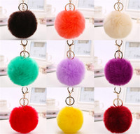 Wholesale Rabbit Fur Ball Keychain Soft Fur Ball Lovely Gold Metal Key Chains Ball Pom Poms Plush Keychain Car Keyring Bag Earrings Accessories