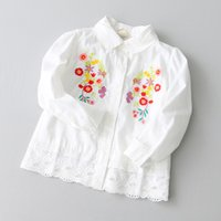 Wholesale Kids Girls Lace Blouses Spring Baby Girl Full Sleeve Floral Embroidery Shirts Princess Hollow Out Tshirt Tops Children Outwear Clothing