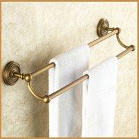 antique bathroom hardware - Newly European Style Retro Towel Hanging Rod Bathroom Hardware Pendant Antique Brass Towel Racks Double Towel Bar