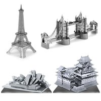 Wholesale D Puzzle Metal Earth Laser Cut Model Jigsaws DIY Gift World s Famous Building Eiffel Tower Big Ben Tower of Pisa Toys