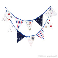 12 drapeaux 3.2m Pirate Thème Tissu en coton Bunting Pennant Flag Banner Garland Wedding / Birthday / Baby Shower Party Decoration
