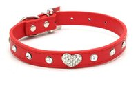 best leather pet collars - Best price Bling Rhinestone Crystal Leather Pet Dog Cat Collars Adjustable Collar with Pendant