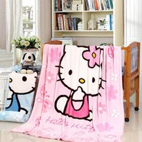Wholesale 70 cm Children Cartoon Flannel Bed Blanket Cobertor Mantas Bath Plush Towel Air Condition Sleep Cover Bedding Blankets